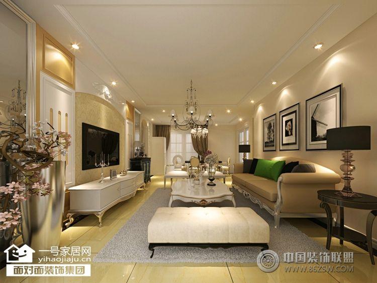 金色港湾五期160平米欧式客厅装修图片