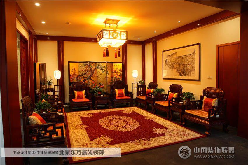四合院别墅设计中式客厅装修图片