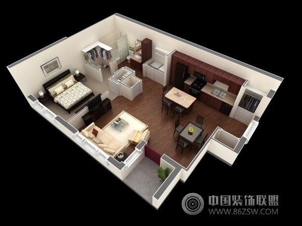 一居室户型3d布局设计方案-客厅装修图片
