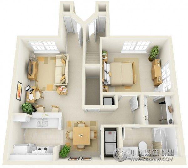 一居室户型3d布局设计方案