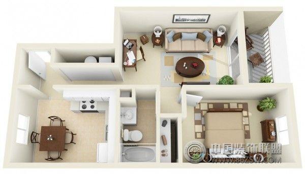 一居室户型 3d 布局设计方案 客厅 装修效果图 八