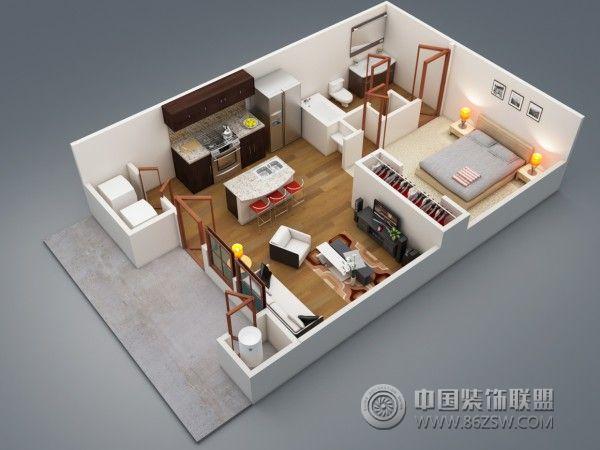 一居室户型3d布局设计方案客厅装修图片