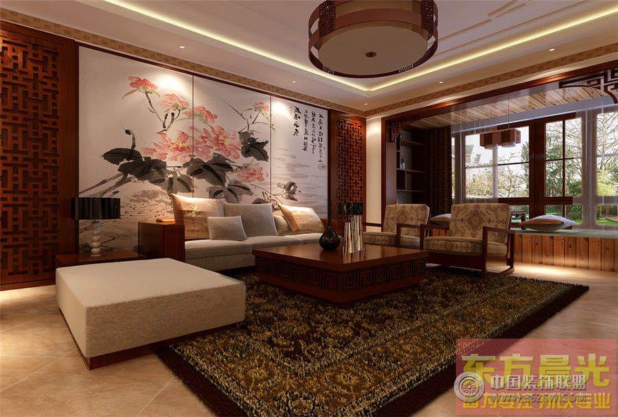 北京别墅设计中式风格-客厅装修图片