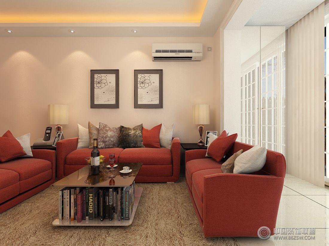 红色简约风格-客厅装修效果图-八六(中国)装饰联盟