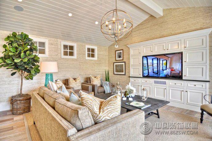 最新嵌入式电视背景墙设计-客厅装修图片