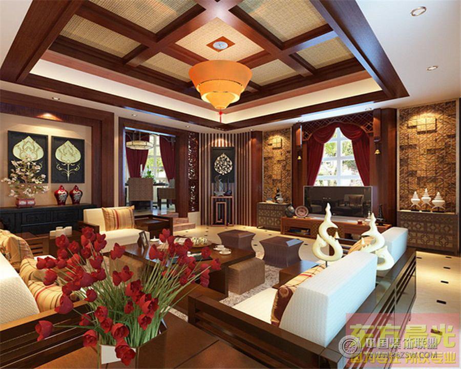高雅的中式别墅设计中式客厅装修图片