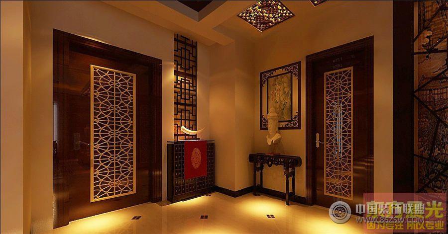 古典中式别墅装修设计中式玄关装修图片