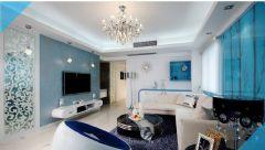 蓝色情节简约风格三居室