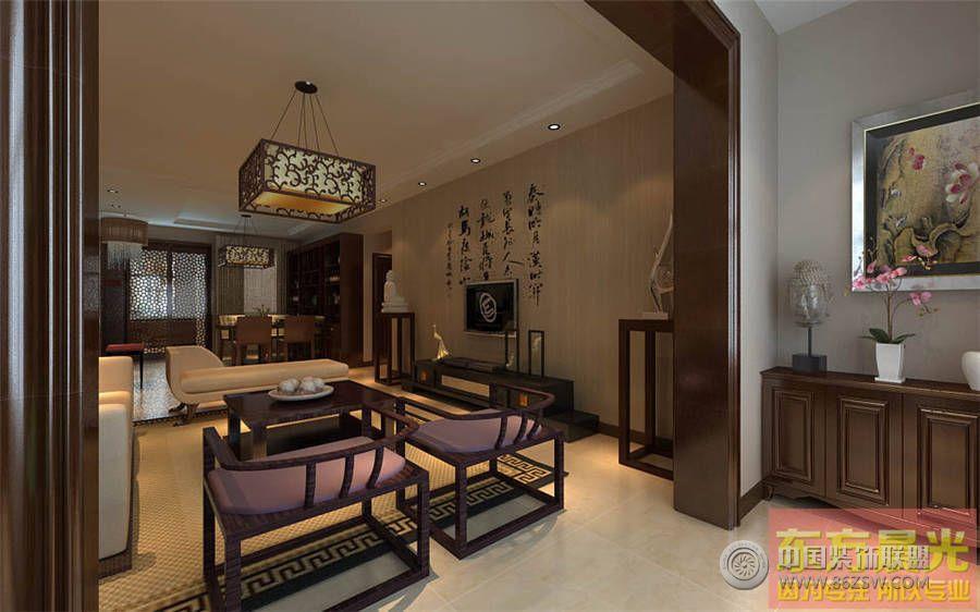 简洁大方中式别墅设计效果图 客厅装修图片高清图片
