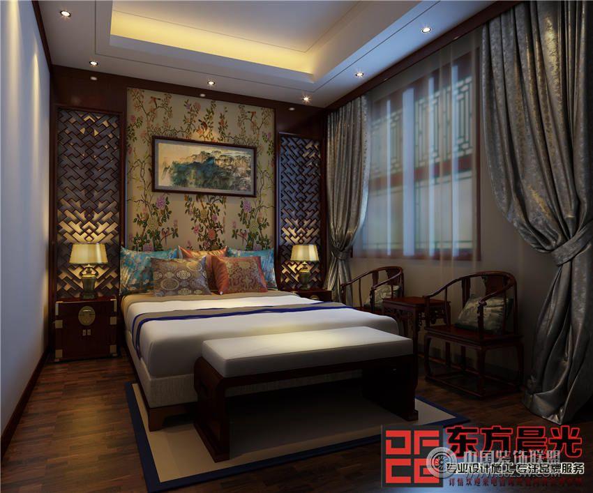 北京古韵古香中式别墅设计-卧室装修图片
