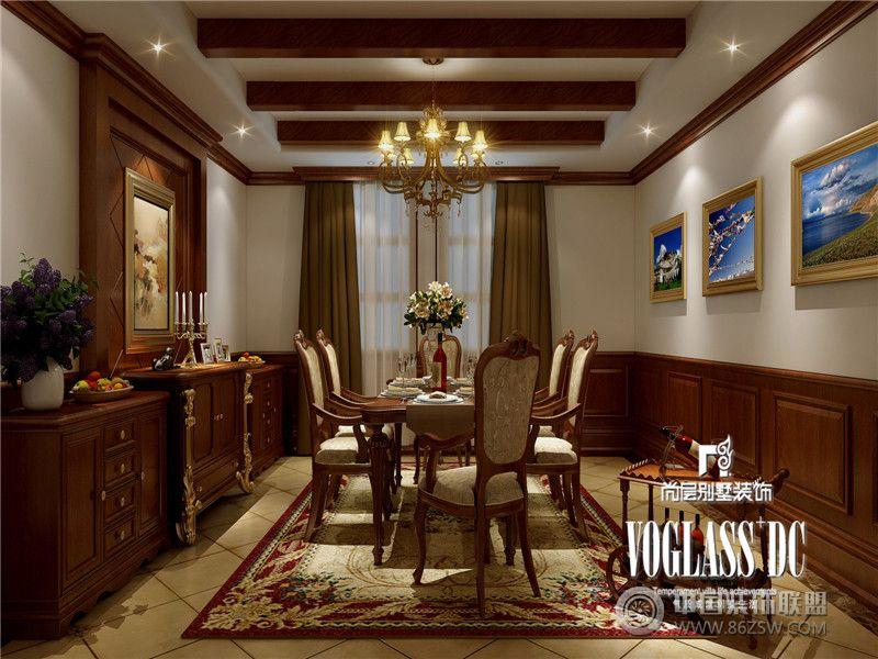 成都尚层装饰别墅装修复地御香山中式风格案例中式餐厅装修图片