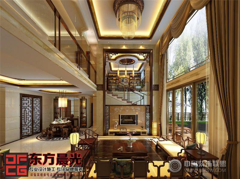 独栋别墅中式装修效果图-客厅装修效果图-八六(中国)
