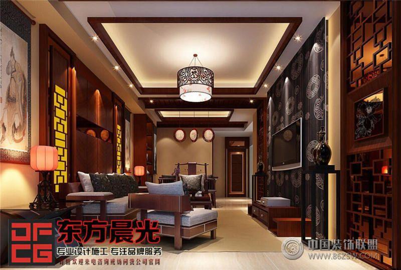 现代中式风格别墅设计中式客厅装修图片