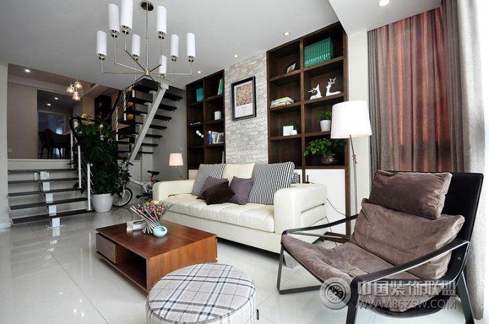 125平现代跃层时尚雅居-客厅装修效果图-八六装饰网