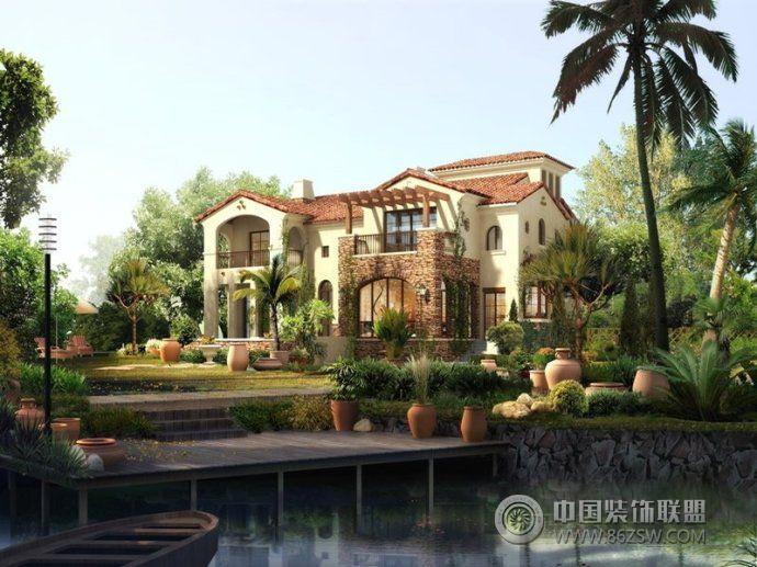 最新别墅庭院设计-客厅装修效果图-八六(中国)装饰