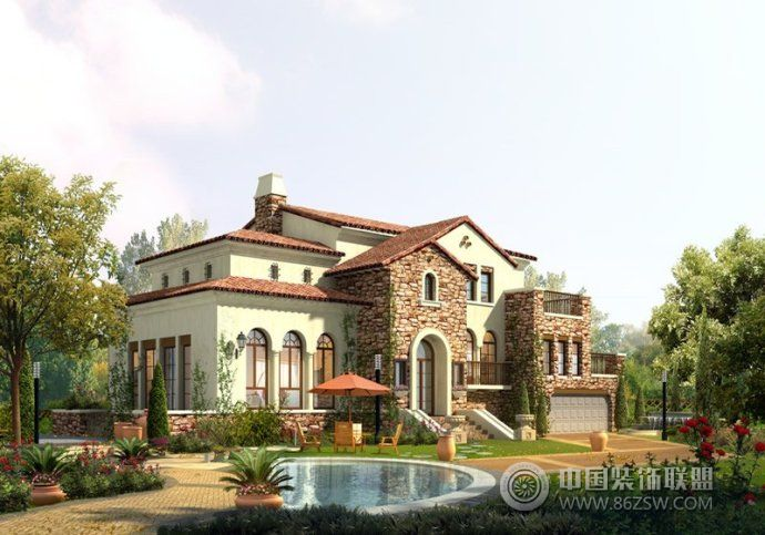 最新别墅庭院设计_简约大户型装修效果图