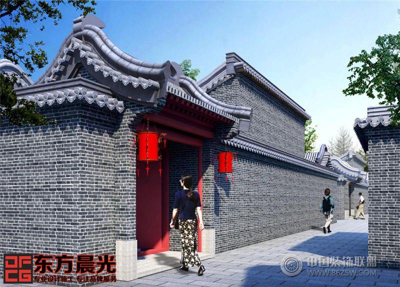 設計理念: 仿古門頭設計在現代社會逐漸成為許多戶主的首選,對于不同人的感官,在門頭風格設計上,主要采用中式仿古設計,繼承傳統建筑文化的精華結合現代設計技術,既復古,又創新,可謂是仿古門頭中最為潮流的裝扮了。以下是東方晨光公司打造的北京仿古門頭設計案例,旨在為您的門頭裝修設計提供一些幫助,為大家打造更加完美舒心的宅院生活。仿古門頭多數采用大紅色調,加上彩繪、青瓦、大紅燈籠做修飾,彰顯整個門頭的高端質感。門口兩側擺放抱鼓石,墻上鑲嵌青磚磚雕,樸實大氣,簡潔卻不簡陋,獨具文化內涵。 東方晨光裝飾的宗旨是專業設計