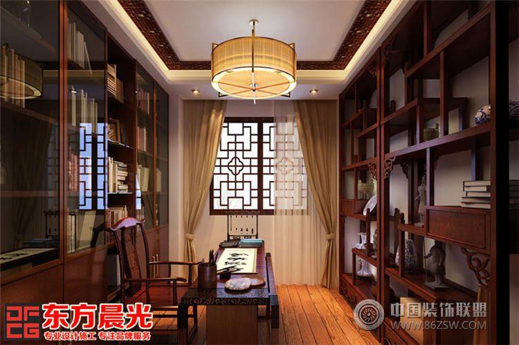 北京中式古典别墅设计-书房装修效果图-八六(中国)