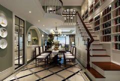 长江国际原墅装修案例 简约美式 重庆天古装饰美式风格别墅