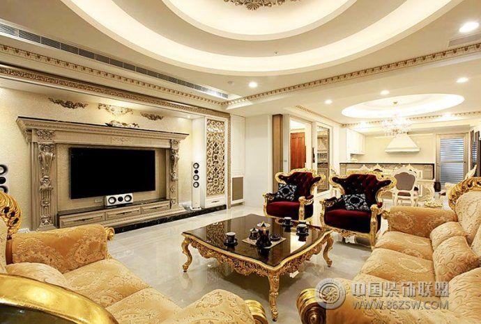 196平欧式古典奢华别墅-客厅装修效果图-八六(中国)