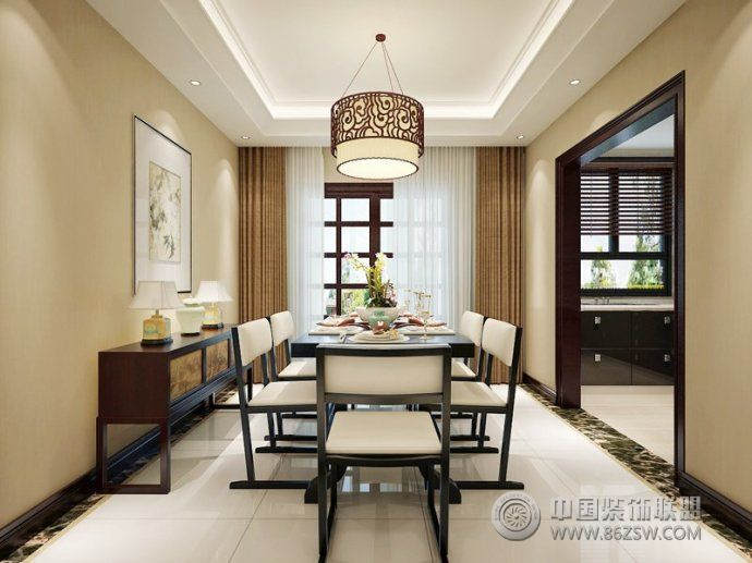 140平新中式时尚雅居 餐厅装修效果图 -140平新中式时尚雅居 餐厅装高清图片