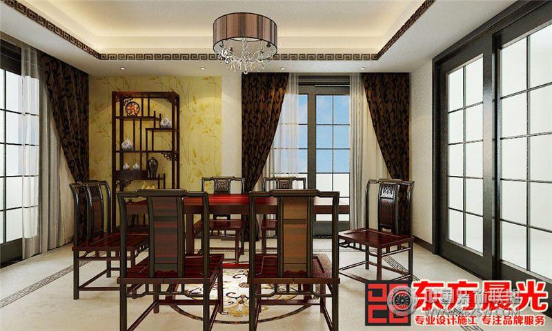 典雅新中式风格别墅设计效果图-餐厅装修效果图-八六