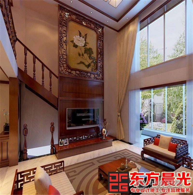 富丽华贵中式设计二层别墅效果图中式客厅装修图片