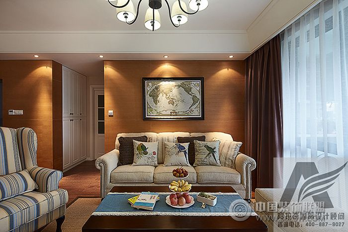 美式家庭装修整套大图展示_美式三居室装修效果图_八