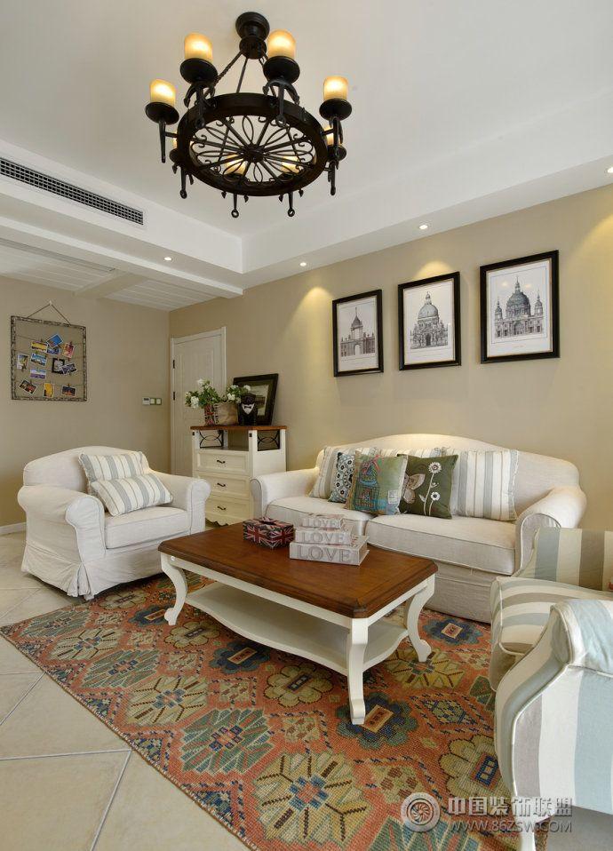 123平美式田園溫馨雅居-客廳裝修圖片