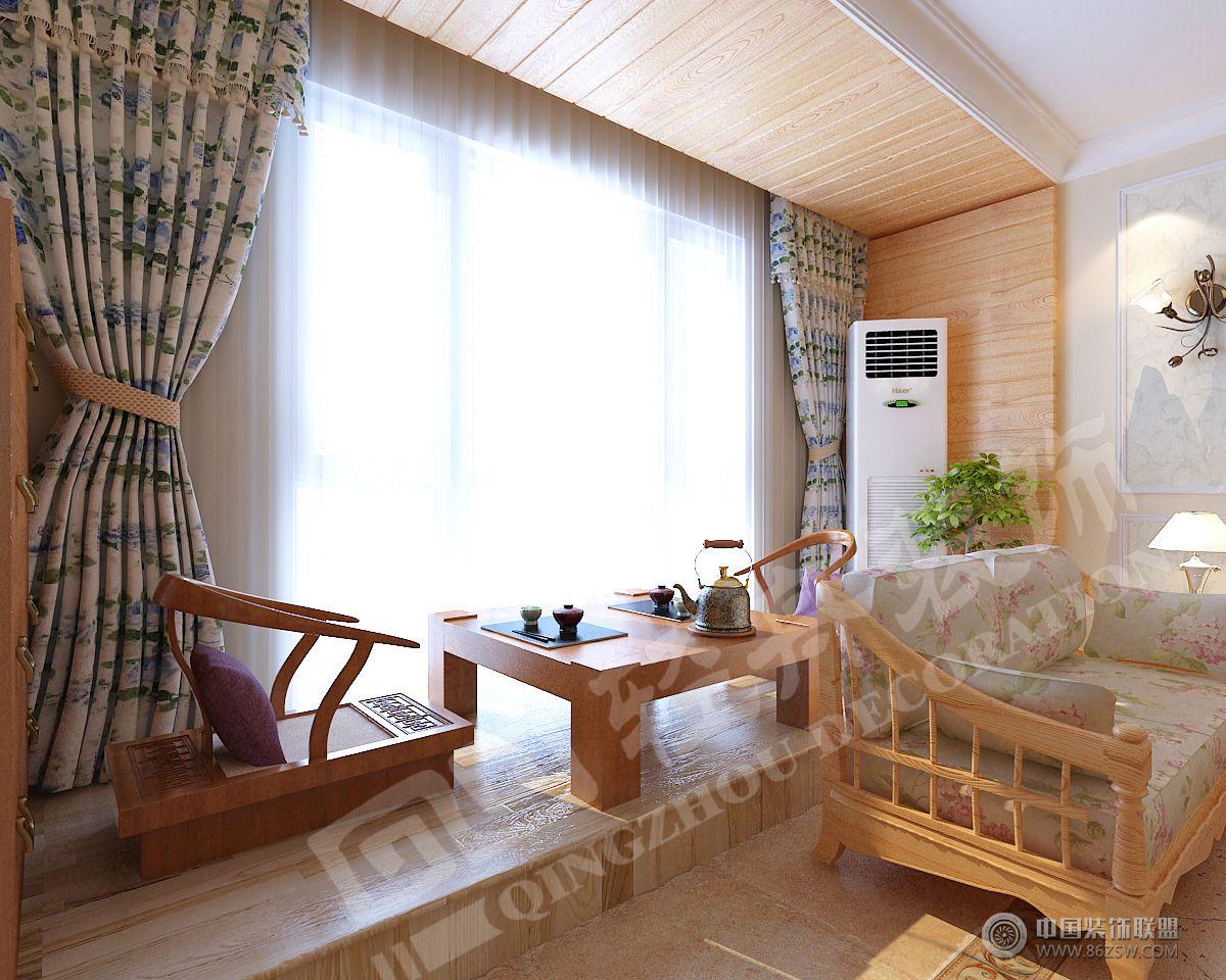 木质田园风格-客厅装修效果图-八六(中国)装饰联盟