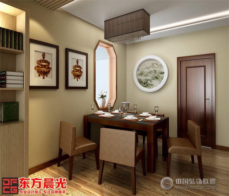 优雅中式别墅装修设计餐厅木质地板生态环保,小型餐桌椅祥和温馨
