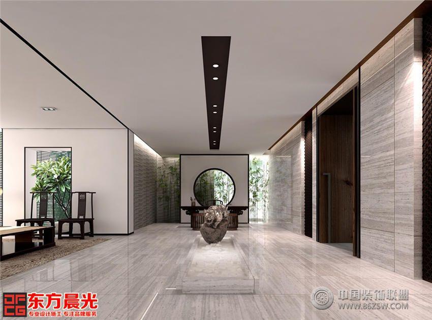 此简朴中式茶馆设计淡棕色实木桌椅简约朴实,却又气质斐然,与