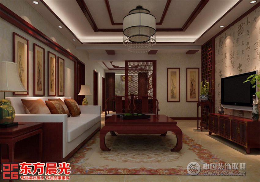 别墅客厅装修红木
