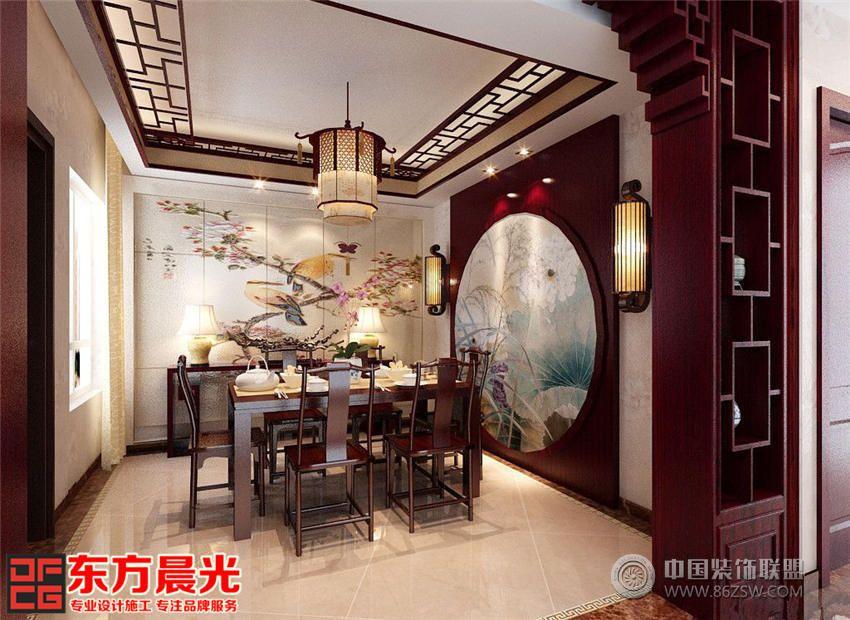 装修效果图整体室内设计都采用一致的红色调实木家具