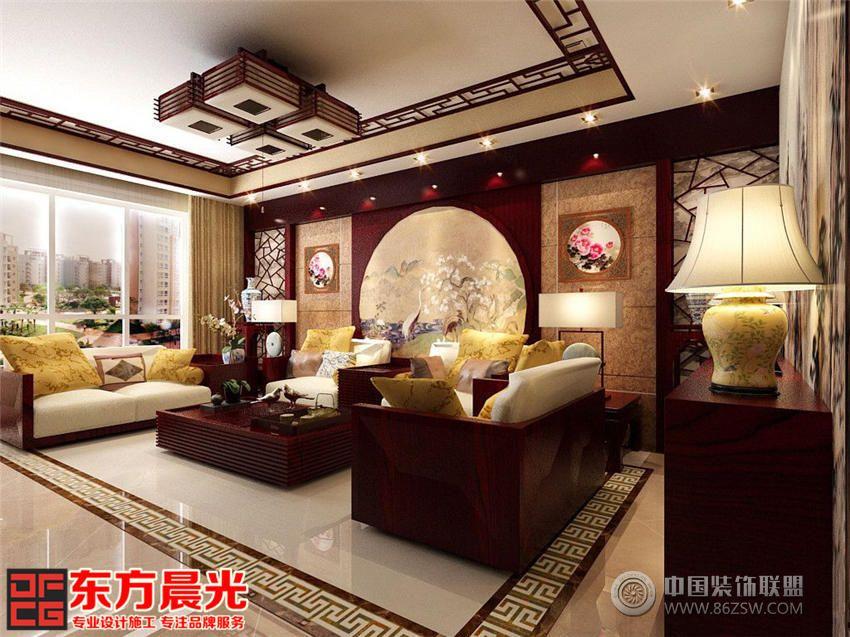 中式风格别墅室内装修效果图 客厅装修图片