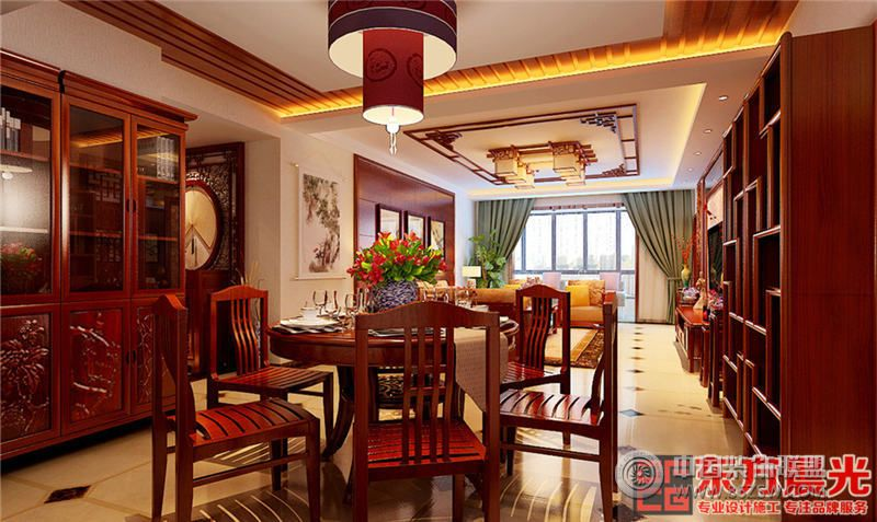 风华绝代中式风格别墅设计效果图-餐厅装修图片
