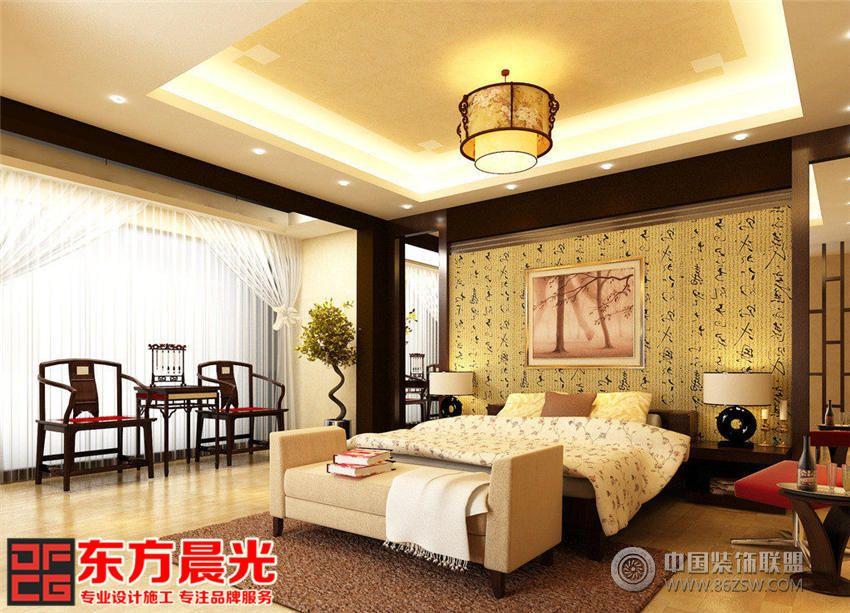 獨棟大型別墅裝修設計中式風格-臥室裝修效果圖-八六