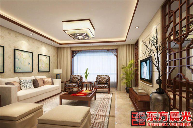 雋秀唯美中式風格別墅裝修設計中式客廳裝修圖片