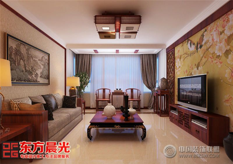 翠林青苑中式别墅设计效果图-客厅装修图片