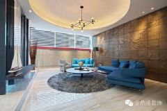 蓝色百叶的格调客厅简约风格大户型