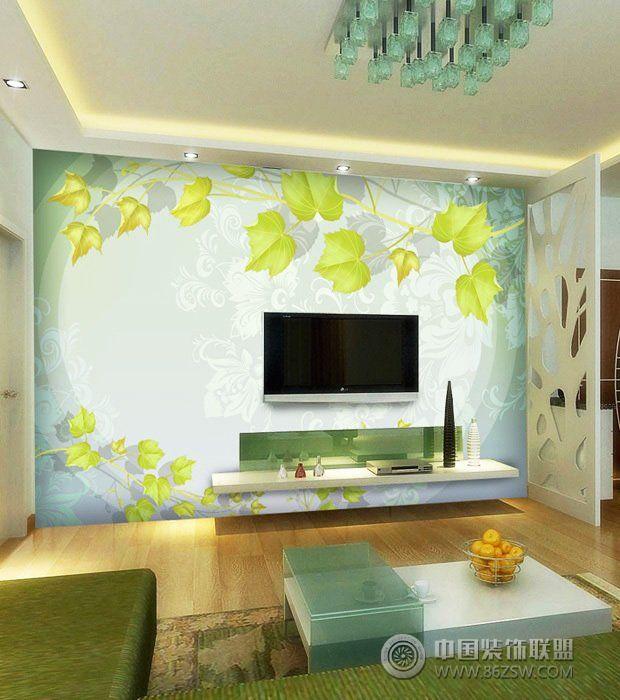 最新手绘电视背景墙-客厅装修效果图-八六装饰网装修