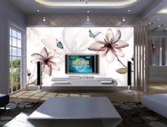 最新手绘电视背景墙