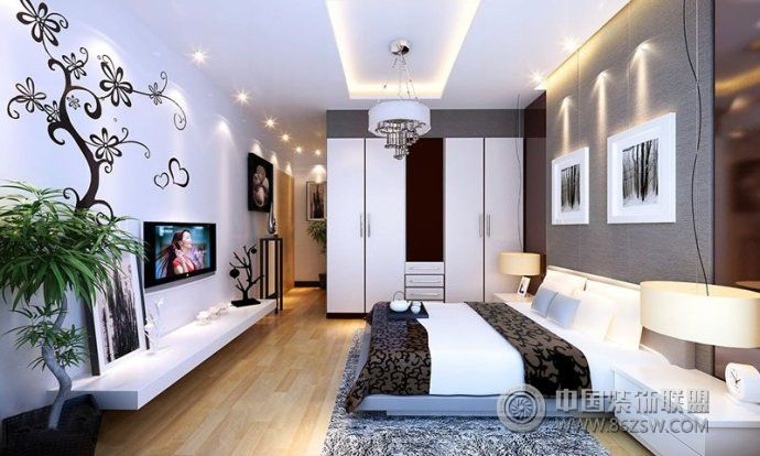 最新手绘电视背景墙现代风格客厅装修效果图