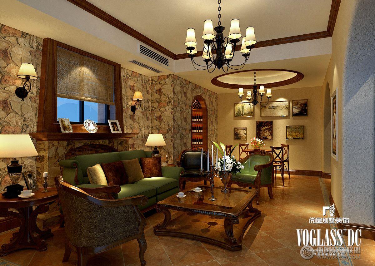 别墅装修龙湖长桥郡美式风格案例说明客厅装修图片