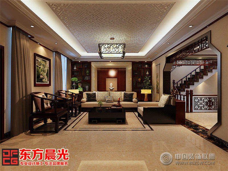 别墅中式装修设计宫廷镂空花纹框制的中式吊灯散发着