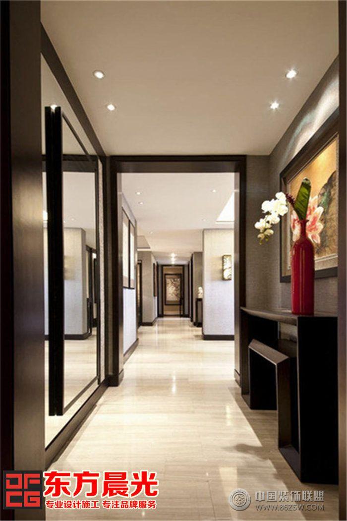 现代风格别墅中式装修设计 过道装修图片