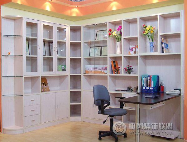l型书柜布置与空间角落精美搭配-书房装修图片图片