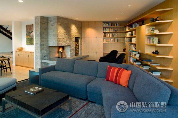 l型书柜布置与空间角落精美搭配-客厅装修效果图