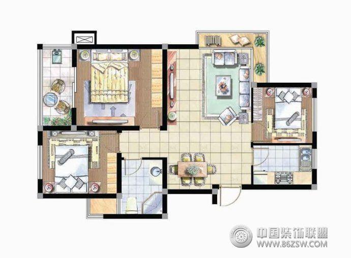 小户型平面图-客厅装修效果图-八六(中国)装饰联盟