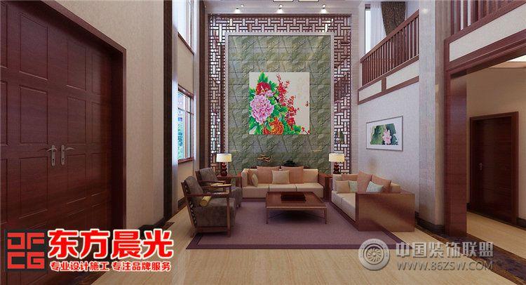 独栋别墅室内装修设计中式风格-客厅装修效果图-八六